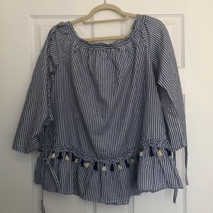 Impeccable Pig blue and white tassel top